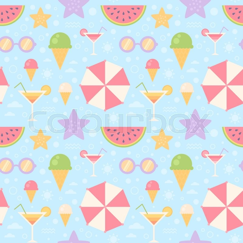 Seamless Wallpaper Pattern With Ice Cream Icons Stock: Summer Seamless Pattern With Sun ...