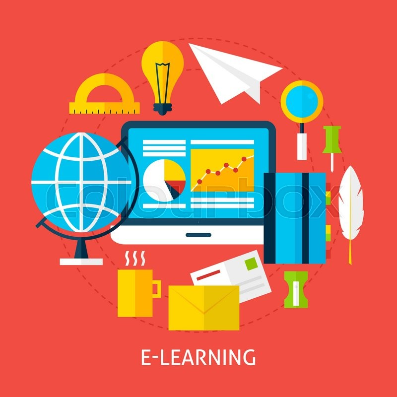 Education and Online Learning Concept. Flat Design Vector ...