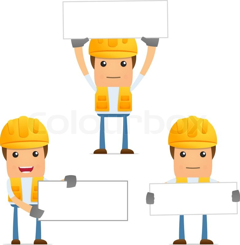 Foreman Builders Mail: Set Of Funny Cartoon Builder In Various Poses For Use In
