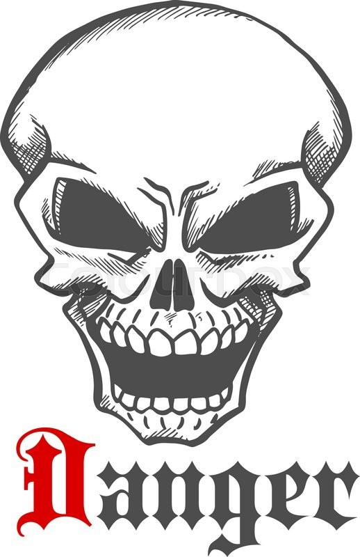 hellish grin of dangerous human skull sketch drawing for tattoo or t shirt print design usage with laughing skeleton character and caption danger stock