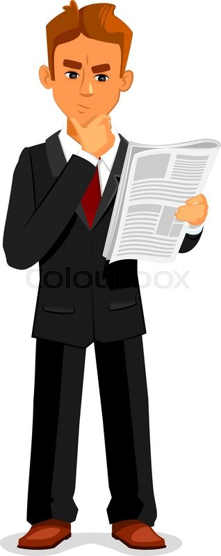 Cartoon thoughtful businessman is reading newspaper. Full ...