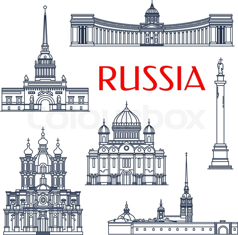 Tourist attractions of russian architecture symbols for vacation planning and travel agency design with linear Smolny and Kazan Cathedrals, Russian Admiralty and Alexander Column, Peter and Paul Fortress and Cathedral of Christ The Savior, vector