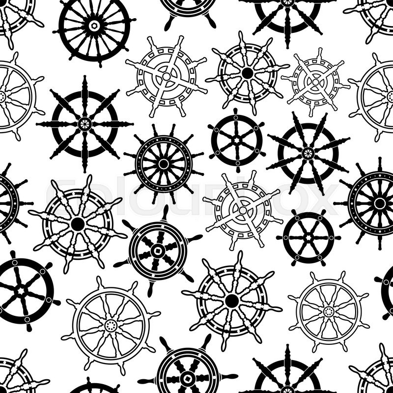 Decorative Nautical Navigation Seamless Background With Black And White Pattern Of Vintage Sailing Ships Helms Steering Wheels