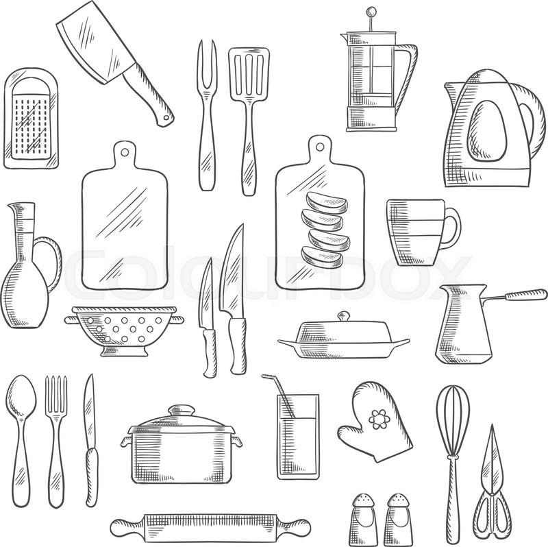 Kitchen Appliance Drawings ~ Kitchen utensils and appliances sketch icons of tea