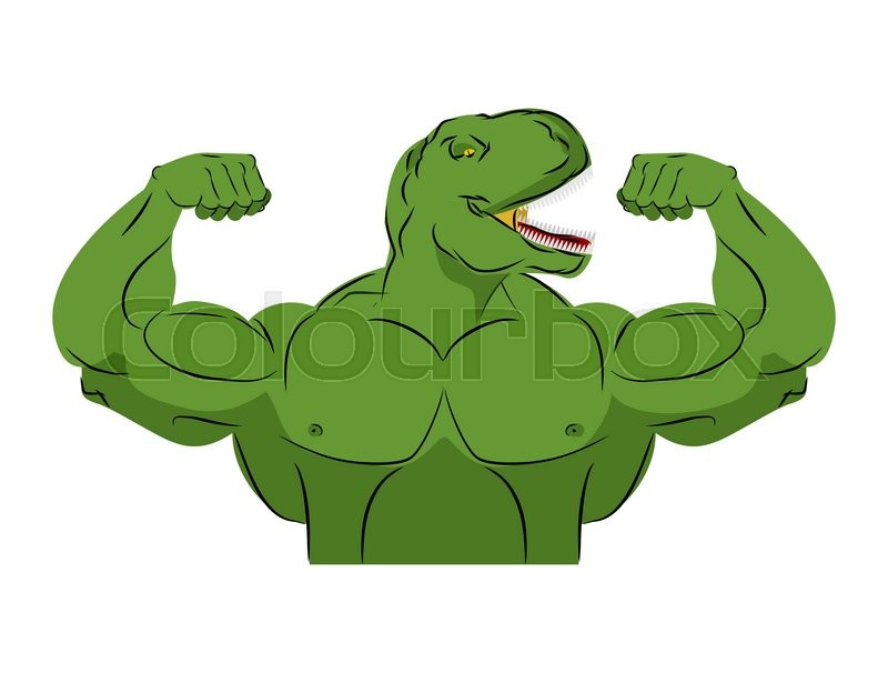 dinosaur strong athlete  angry fitness tyrannosaurus  wild animal bodybuilder with huge muscles