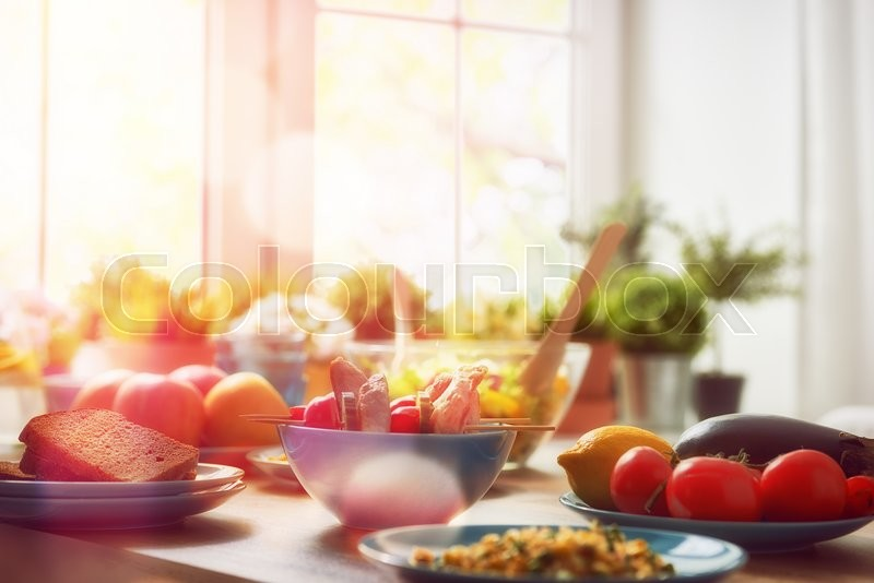Balanced diet, cooking, culinary and food concept. food for a family dinner on a wooden table in the dining room, stock photo