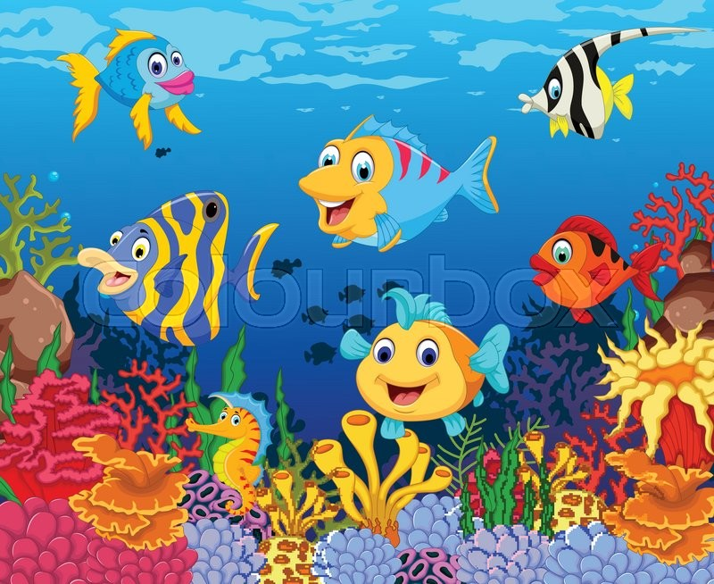 Vector Illustration Of Funny Fish ...