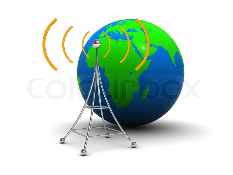 3D-Darstellung von Radio-Antenne -Symbol mit Erdkugel | Stockfoto ...