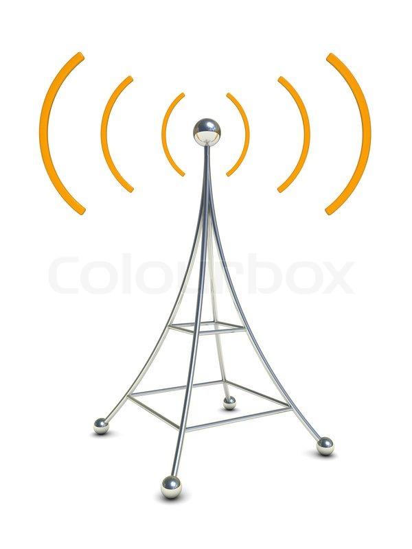 3D Abbildung des Radio-Antenne-Symbol auf weißem Hintergrund ...