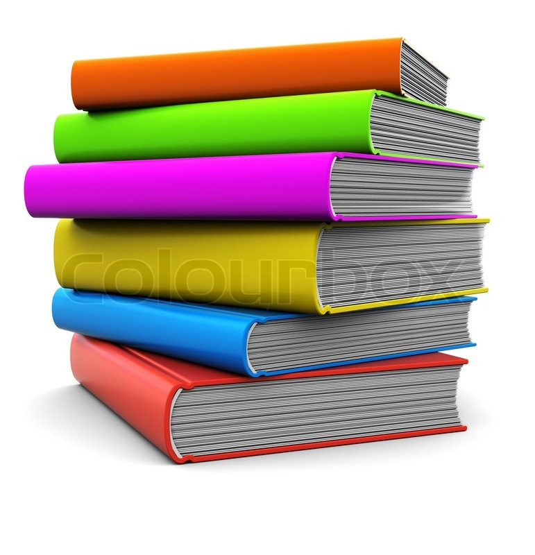 3d illustration of colorful books stack over white background ...