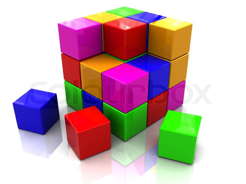 3d illustration of colorful cube blocks building, over ...