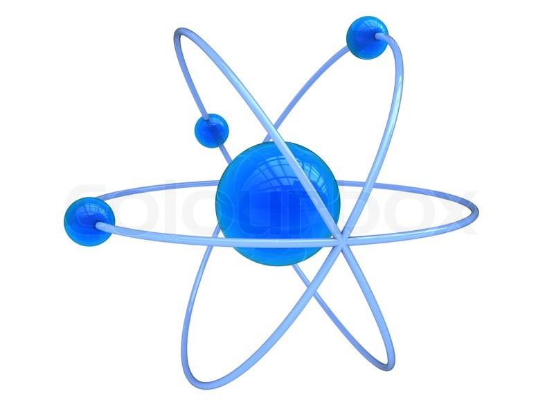 abstract 3d illustration of blue atom symbol over white background