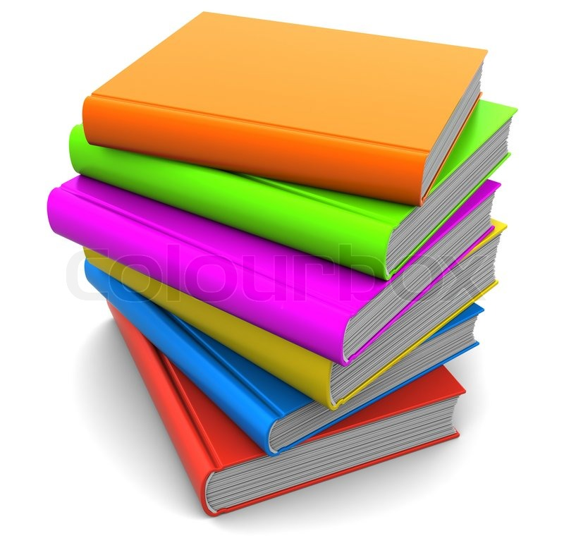3d illustration of colorful books stack with blank covers | Stock ...