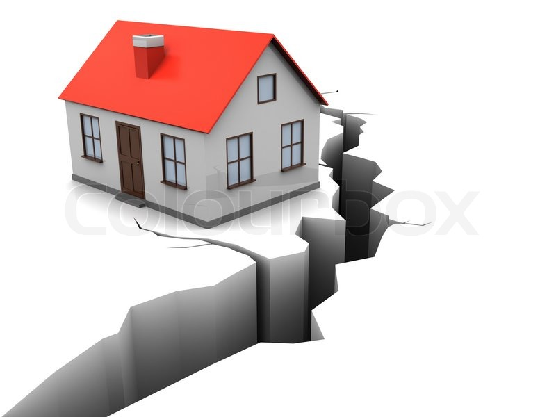 Picture Of House 3d illustration of house with crack in ground, earthquake concept