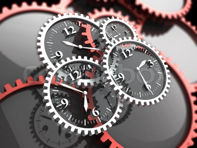 Abstrakte 3d Illustration der Uhr Zahnräder, Zeit-Konzept ...