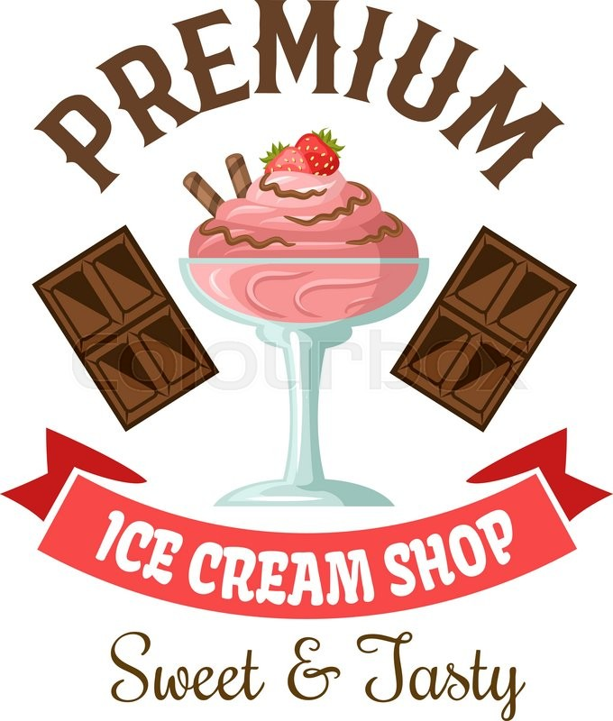 Ice Cream Shop Symbol Of Strawberry Gelato With Chocolate And Fresh