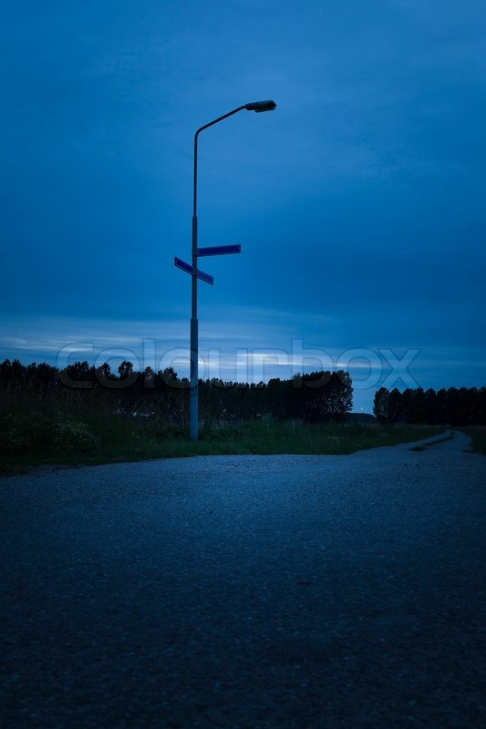 Dark road in the evening, stock photo