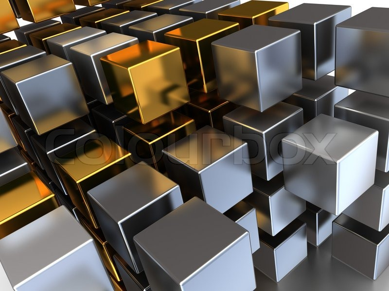 abstrakte 3d illustration der metall w rfel hintergrund. Black Bedroom Furniture Sets. Home Design Ideas