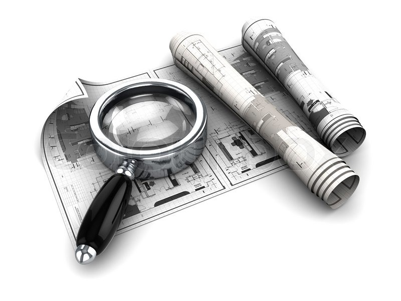 3d illustration of blueprints and magnify glass