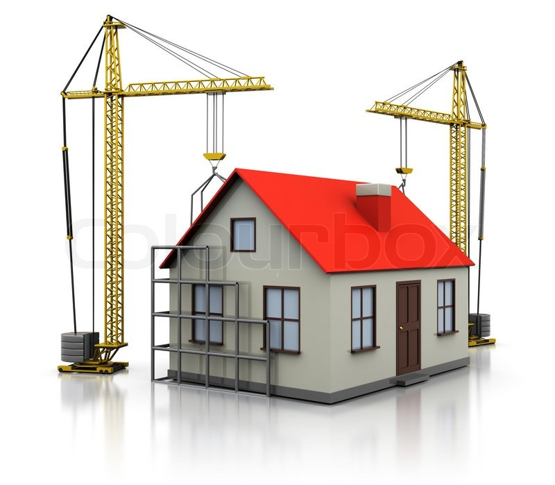 3d illustration of two cranes building house over white for How much can i build a house for