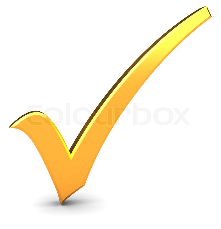 image of '3d illustration of golden check mark over white background