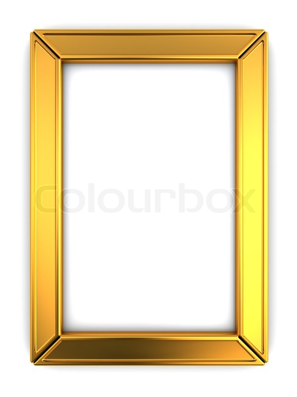 3d illustration of golden metal photo frame, isolated over white ...