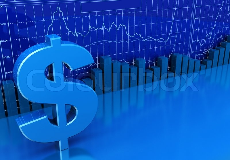 3d illustration of business diagrams and dollar sign blue