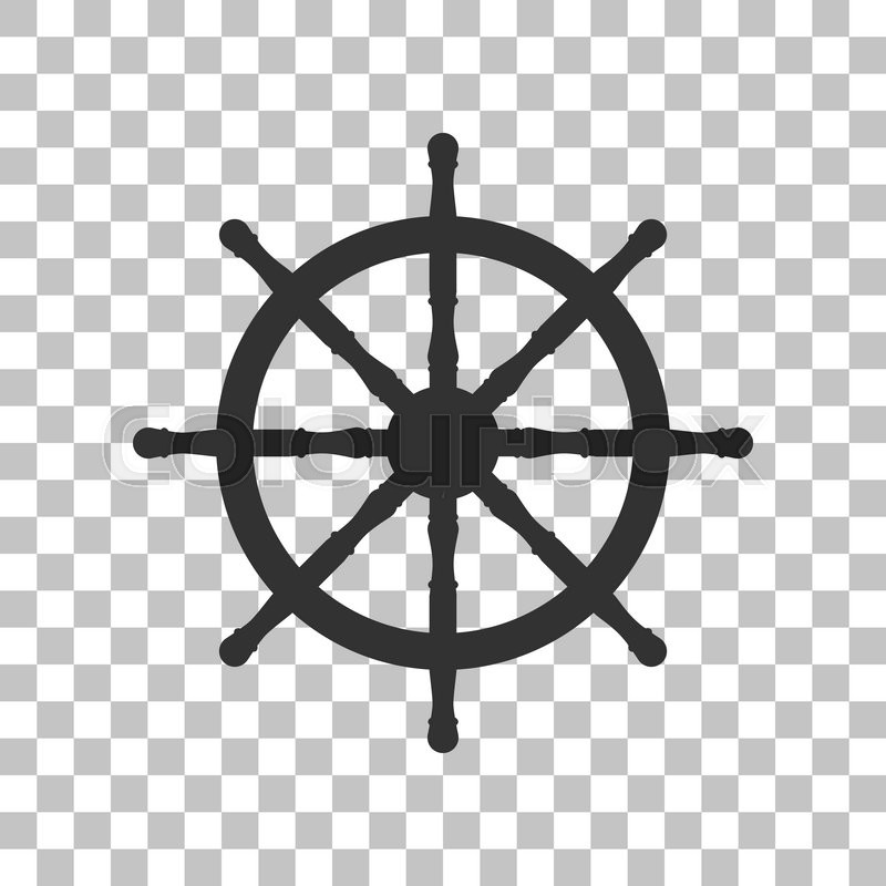 Ship Wheel Sign Dark Gray Icon On Transparent Background Stock