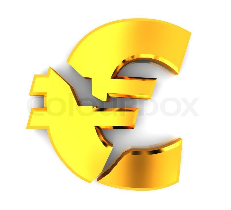 3d Illustration Of Broken Euro Sign Over White Background Stock