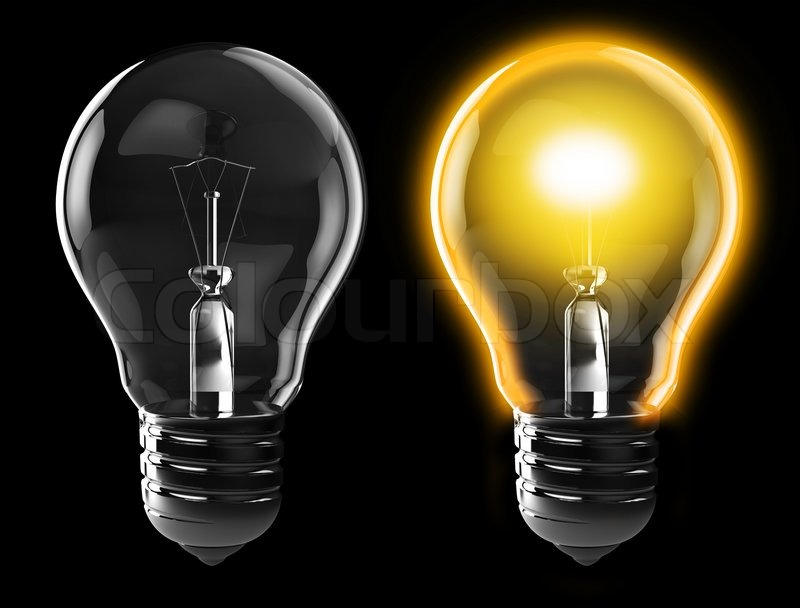 3d Illustration Of Light Bulb Power On And Off