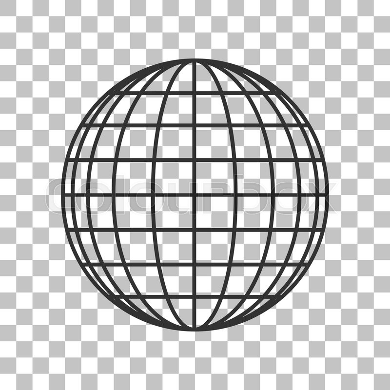 earth globe sign dark gray icon on transparent background