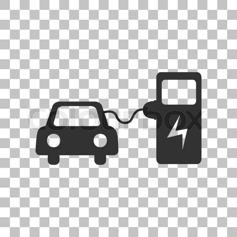 Electric Car Battery Charging Sign Dark Gray Icon On Transparent