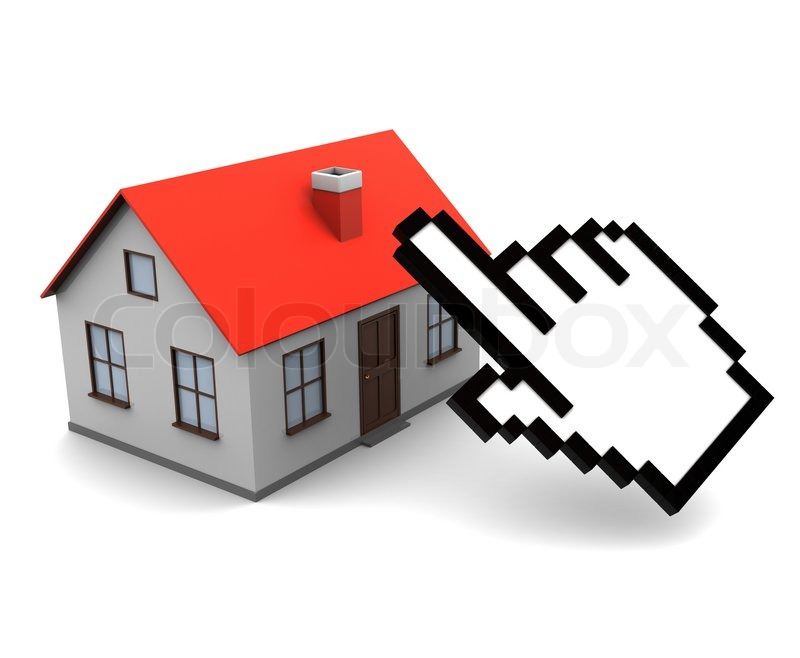 3d Illustration Of House And Cursor Online Real Estate