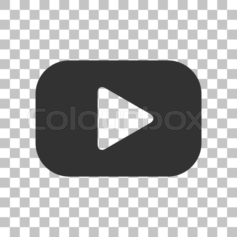 Play Button Sign Dark Gray Icon On Transparent Background Stock