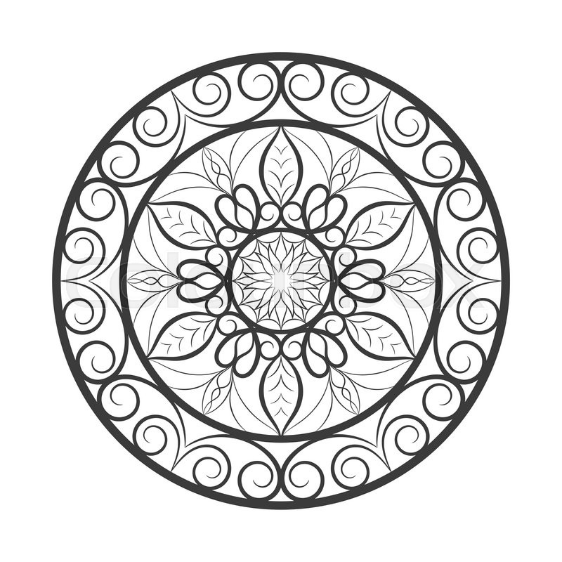 Vector Black Color Flower Mandala Over White Invitation Element Tattoo Astrology Alchemy Boho And Magic Symbol For Your Projects