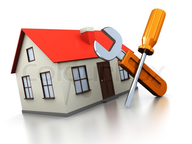3d illustration of house with screwdriver and wrench ...