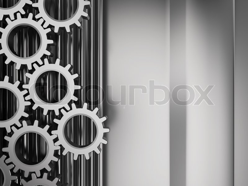 Stock image of 'Abstract 3d illustration of metal background with gear wheels system'