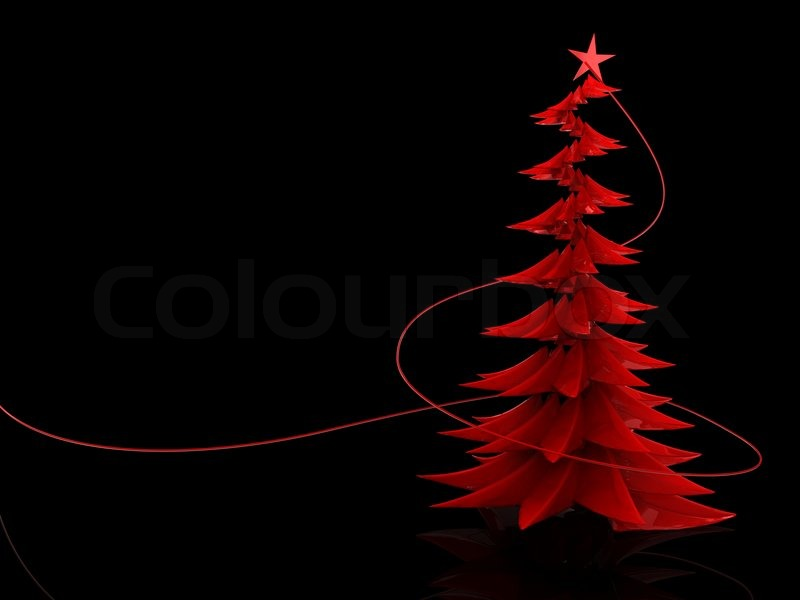 Abstract 3d illustration of red glass christmas tree over black ...