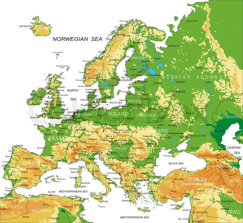 Highly detailed physical map of Europein vector formatwith all the