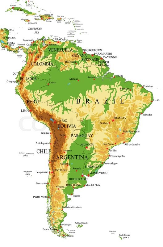 Highly detailed physical map of South America,in vector format,with ...