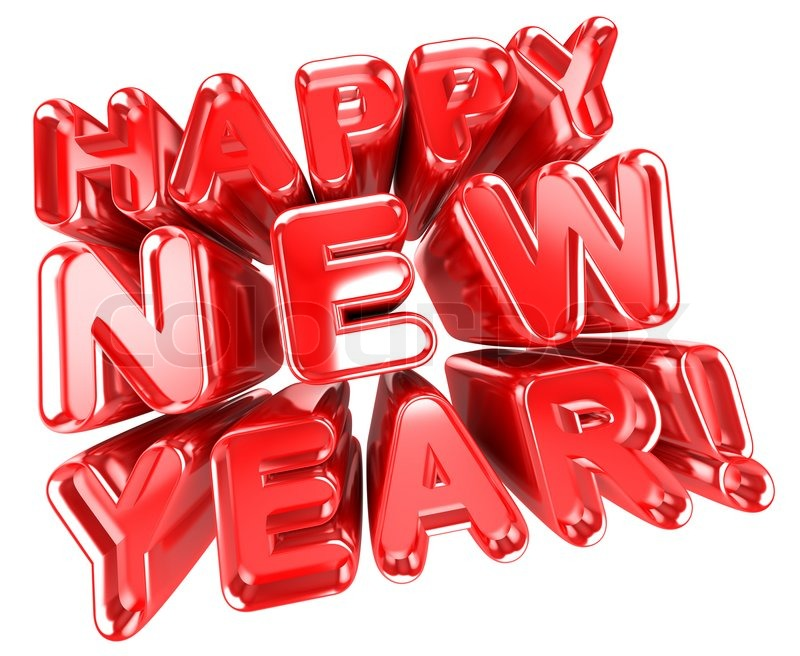 3d illustration of red happy new year sign isolated over white