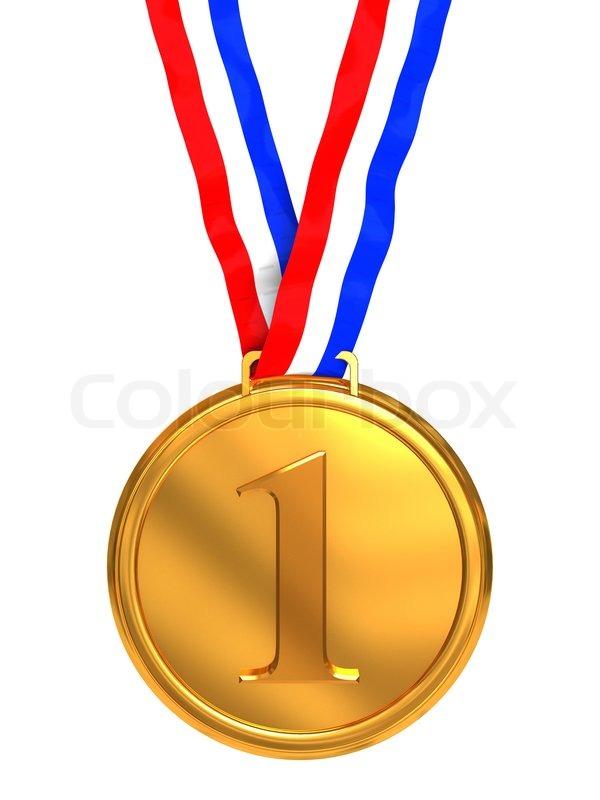 3d Illustration Of Golden Medal With