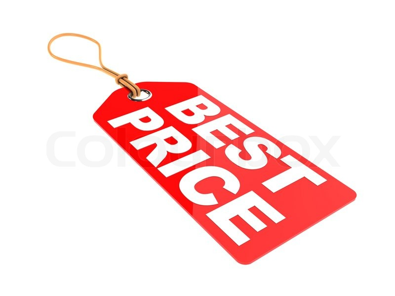 3d illustration of red tag with text 'best price' on it, isolated ...