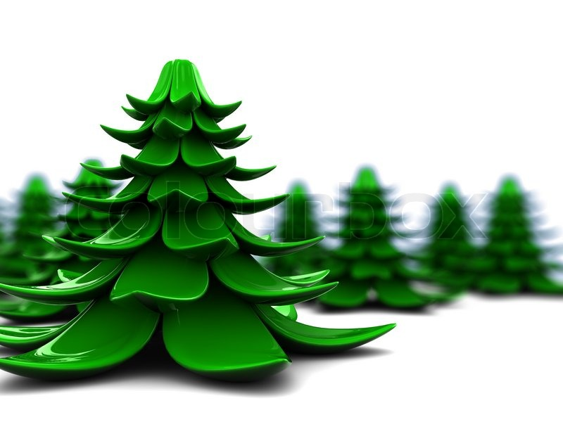 Abstract d illustration of stylized christmas trees over