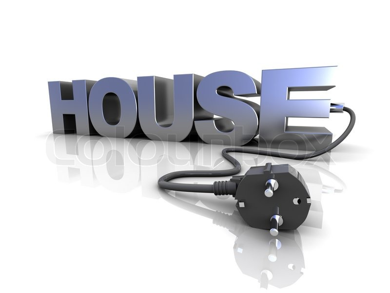 3d illustration of text \'house\' with power cord and plug | Stock ...