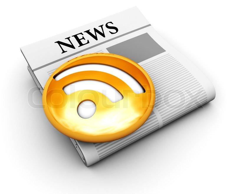 Image of '3d illustration of an newspaper with orange rss symbol ...: becuo.com/newspaper-symbol