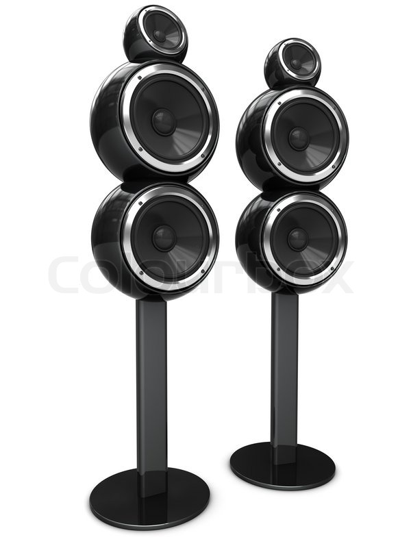 Exhibition Stand Entertainment : D illustration of modern audio speakers over white