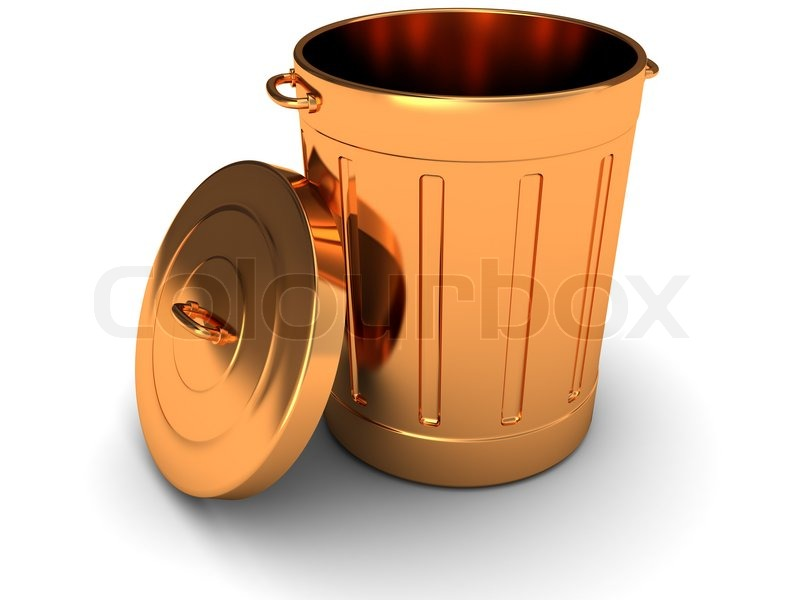 Attirant 3d Illustration Of Copper Trash Can Over White Background | Stock Photo |  Colourbox
