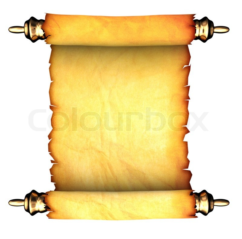 3d illustration of ancient paper scroll isolated over ...
