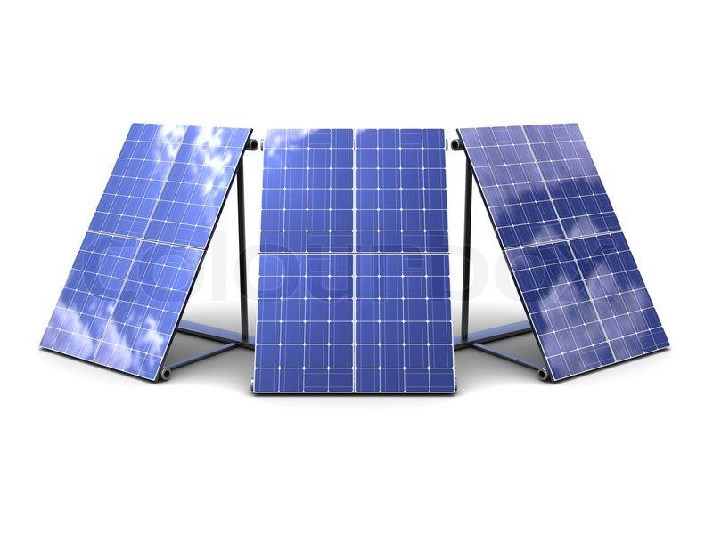 3d Illustration Of Three Solar Panels Over White